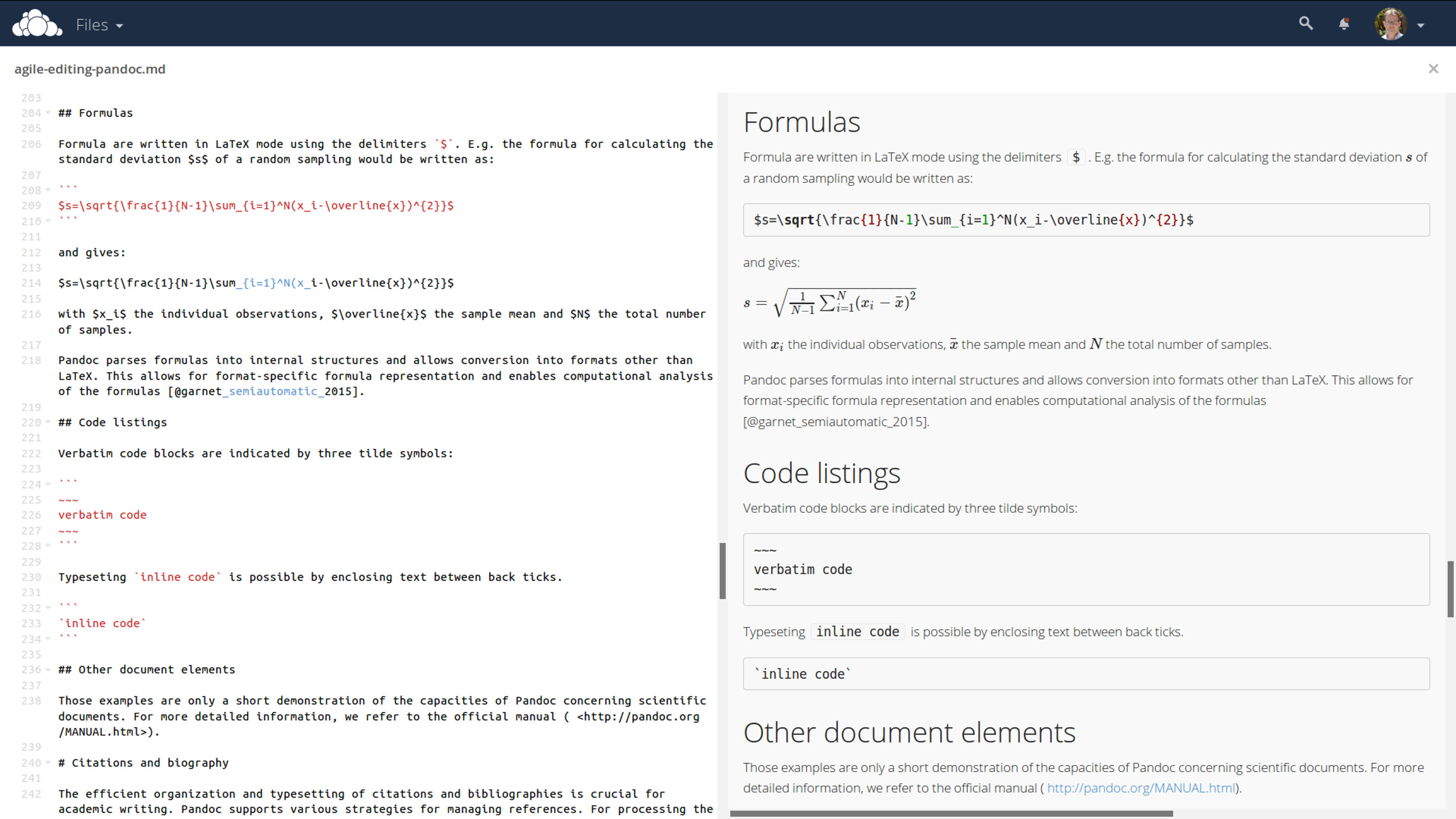 Direct online editing of this manuscript with live preview using the ownCloud Markdown Editor plugin by Robin Appelman.